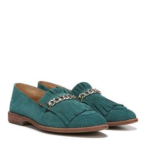 New! Franco Sarto Suede Chain Kilted Loafers